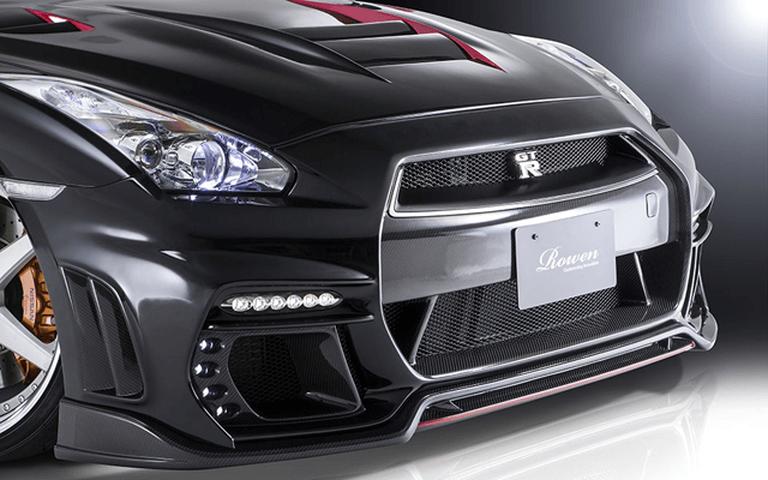 R35 GT-R 外装 エアロパーツ フロントバンパー ROWEN(ロェン) フロントバンパー with LED(カーボン+FRP)