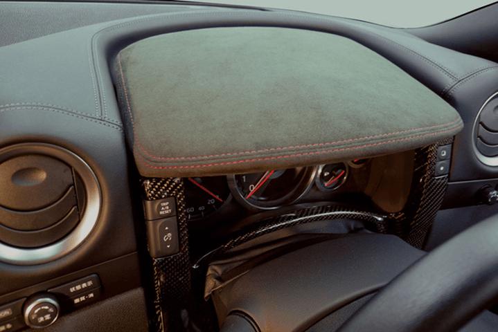 R35 GT-R 内装 内装その他 その他 WALD METER COVER(ブラックアルカンターラ張り替え、リアルカーボン)