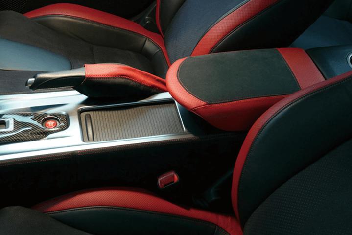 R35 GT-R 内装 内装その他 その他 WALD SIDE BRAKE BOOT(ブラックアルカンターラ/レッドレザー張り替え)