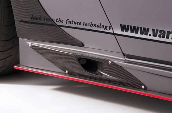 R35 GT-R 外装 エアロパーツ サイドステップ VARIS(バリス) サイドスカート+ブレーキダクト(カーボン)