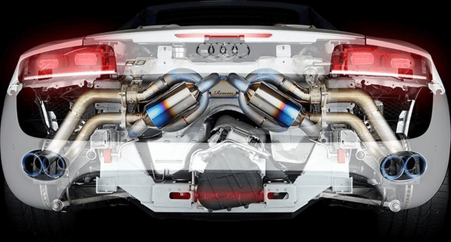 Audi R8 Spyder 排気系 マフラー マフラー本体 ROWEN(ロェン) PREMIUM01TR 『HEAT BLUE TITAN』